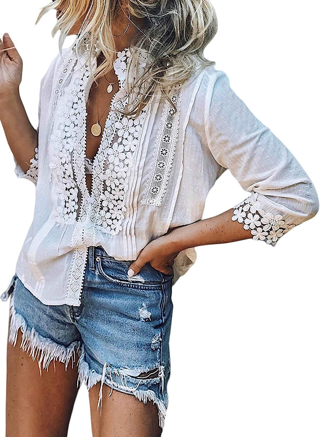 Elapsy Womens V Neck Lace Crochet Shirts Bell Sleeve Button Down Casual Tunic Blouses Tops