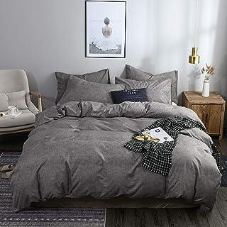 OLDBIAO Bettwäsche Grau 135x200cm Bettbezug + 80x80cm Kissenbezug Kinder Einzelbett Bettdeckenbezug