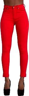 LustyChic Vaqueros Mujer Push Up Tejanos Mujer Cintura Alta Pantalones Pitillos Elasticos Jean de Mujer de Color Talla 34 ...