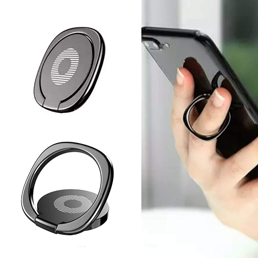Phone Ring, Holder & Stand All in One - Ring with Built in Metal Back Compatible with Any Magnetic Car Phone Holder