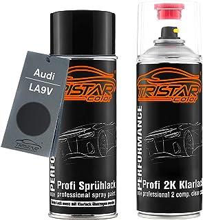TRISTARcolor Autolack 2K Spraydosen Set für Audi LA9V Brillantschwarz Metallic Basislack 2 Komponenten Klarlack Sprühdose