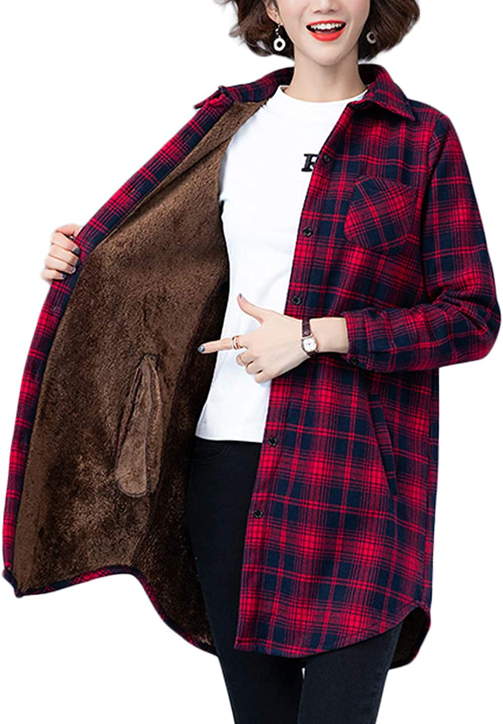 Jenkoon Women's Mid-Long Casual Plaid Check Thermal Lined Flannel Fuzzy Shirt Jacket