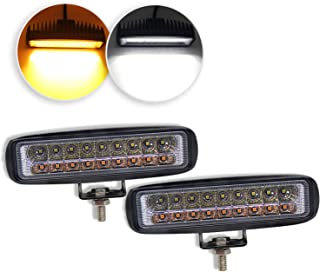 9628BS-2pcs LED Light Bar 5 inch Dual Color Strobe Lights Led Pods Amber Off-Road Lights Flash Lights Driving Fog Lights Yellow White Led Light Bar for SUV ATV Truck BraveWAY