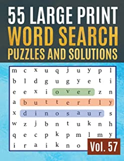 55 Large Print Word Search Puzzles and Solutions: Activity Book for Adults and kids Wordsearch Easy Magic Quiz Books Game for Adults | Large Print ... & Seniors) (Find Words for Adults & Seniors)