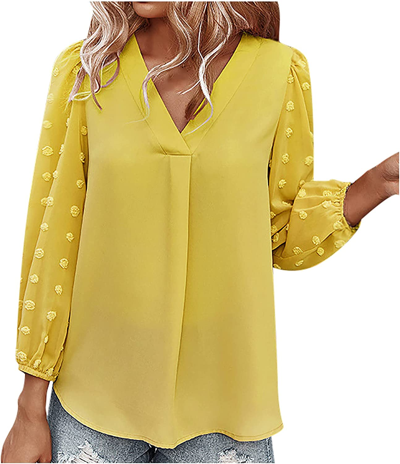 Summer Womens Chiffon Shirt Fashion Solid Color V-Neck Long Sleeve Blouse Tops for Work Office Party Business