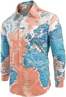 Landscap_Men Casual Shirts World Map Print Tops Blouse Shirt with Button