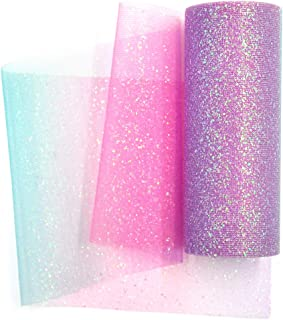 NICROLANDEE Rainbow Glitter Tulle Rolls 6 inch x 10 Yards (30 feet) Shimmer Color for Table Runner Chair Sash Bow Pet Tutu Skirt Sewing Crafting Fabric Wedding Birthday Baby Shower Gift Ribbon