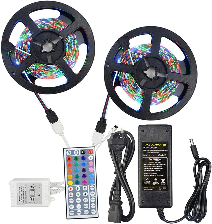 FuweiEncore Light 10M (2x5M) 3528 RGB LED Streifen Lichter No-Waterproof 44 Schlüssel IR Fernbedienung + 10A Netzteil AC 100-240V (Groauswa  US-Stecker) (Gre   US-Stecker)