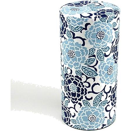 Japanese Tea Canister [Modern Blue flower] 200g/7oz tea capacity -Airtight tin -from Japan | Japanese Tea KIMIKURA