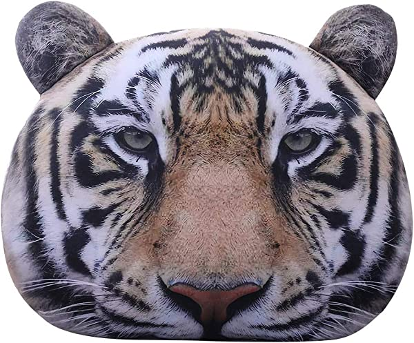 Levenkeness Decorative Throw Pillow 3D Realistic Tiger Head Plush Pillow Cushion Animal Stuffed Toy Christmas Birthday Gifts 19 6 Inch
