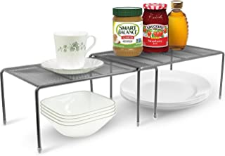 Sorbus Pantry Cabinet Organizers —Features Stackable Expandable Shelves Made of Steel — Ideal for Pantry, Cabinet, Countertop, and Much More in Kitchen/Bathroom (Silver)