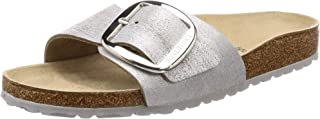 Madrid Big Buckle Washed Metallic Blue Silver Flat Sandal