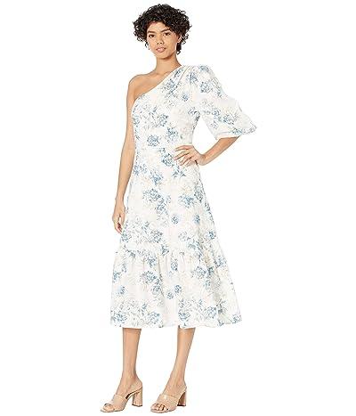 BCBGMAXAZRIA One Shoulder Printed Linen Midi Dress