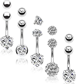 5PC Belly Button Rings 14G Stainless Steel CZ Girl Women Navel 5 Replacement Balls Pack