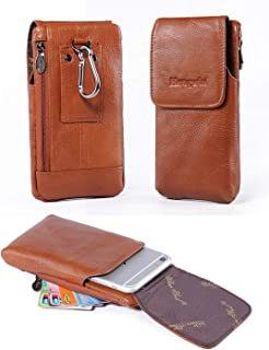 Holster Case with Belt Clip,Vertical Leather Phone Holster Pouch with Belt Loop Carrying Case Waist Bag Cellphone Holder for iPhone XS Max XS 7 8 Plus Galaxy Note 9 8 5 4 S9 S8 S7 Plus+Keychain-Brown