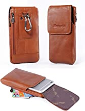 Holster Case with Belt Clip,Vertical Leather Phone Holster Pouch with Belt Loop Carrying Case Waist Bag Cellphone Holder for iPhone XS Max XS 7 8 Plus Galaxy Note 8 5 4 S9 S8 S7 Plus+Keychain-Brown