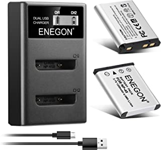 ENEGON NP-45 NP-45A NP-45B NP-45S互換バッテリー(1200mAh 2個)+LCD充電器 Fujifilm INSTAX Mini 90, FinePix XP20 XP22 XP30 XP50 XP60 XP70...