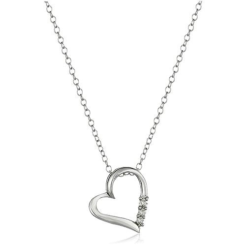Heart Shaped Diamond Necklace: Amazon com