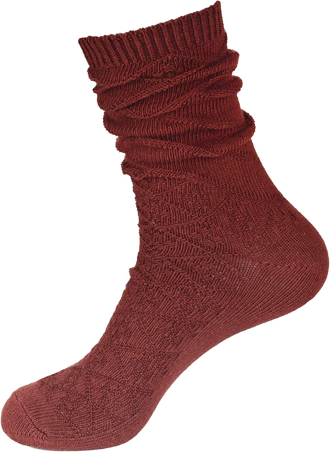 BambooMN Women's Vintage Pattern Style Cotton Casual Knitting Comfy Retro Warm Boot Crew Socks, 3 Pairs Wine