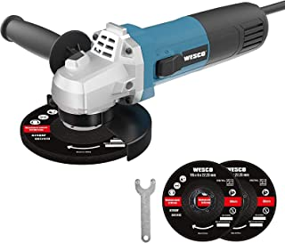 Sponsored Ad – WESCO 750W Angle Grinder Tool, 11000RPM 115mm Power Angle Grinders with 2-Position Auxiliary Handle Spanne...