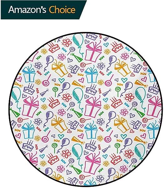 RUGSMAT Doodle Modern Machine Round Bath Mat Colorful Celebration Pattern Birthday Anniversary Congratulation Theme Happy Sketch Non Slip No Shedding Kitchen Soft Floor Mat Round 31 Inch