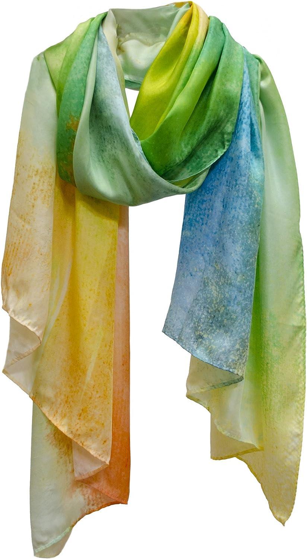 Ethereal Fine Art Silk Scarf Stole Shawl Wrap Sarong orange Green bluee