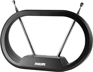 Philips Modern Loop Rabbit Ears Indoor TV Antenna, 15 inch Extendable Dipoles, 4K 1080P VHF UHF, Tabletop Antenna, Digital...