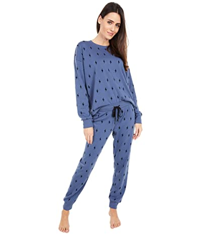 P.J. Salvage Flocked Fleece Lounge Set (Navy) Women