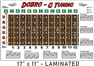 Laminated Dobro Fretboard Chart Resonator Guitar Poster - G Tuning 11x17