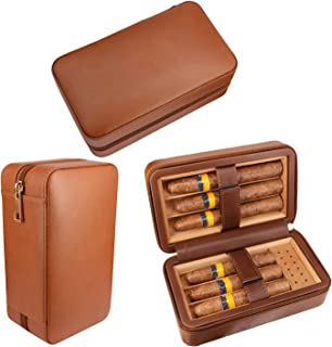 AMANCY Quality Cedar Wood Lined Brown Leather Zipper 6 Ct Travel Cigar Humidor Case