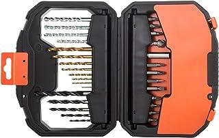 Black+Decker 30 Pieces Titanium Bit Accessory Set in Kitbox for Wood, Metal & Concrete Drilling & Screwdriving, Orange/Bla...