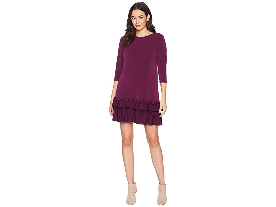eci Solid 3/4 Sleeve Moss Crepe Ruffle Hem Dress (Purple) Women