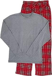 Mens 2-Piece Long Sleeve Shirt & Plaid Fleece Pants Sleepwear Pajama Set