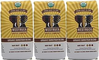 Westrock Coffee Company Organic Certified Sumatran Blend, Dark Roast, 12-Ounce Ground, 3-Pack