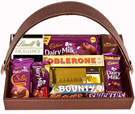 Food Library The Magic of Nature Birthday/ Anniversary/ Christmas/ Valentines/ Diwali Chocolate Gift Hamper (Chocolates in Leather Basket)