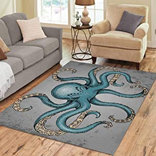 INTERESTPRINT Sweet Home Stores Collection Custom Blue Octopus Area Rug 7'x5' Indoor Soft Carpet