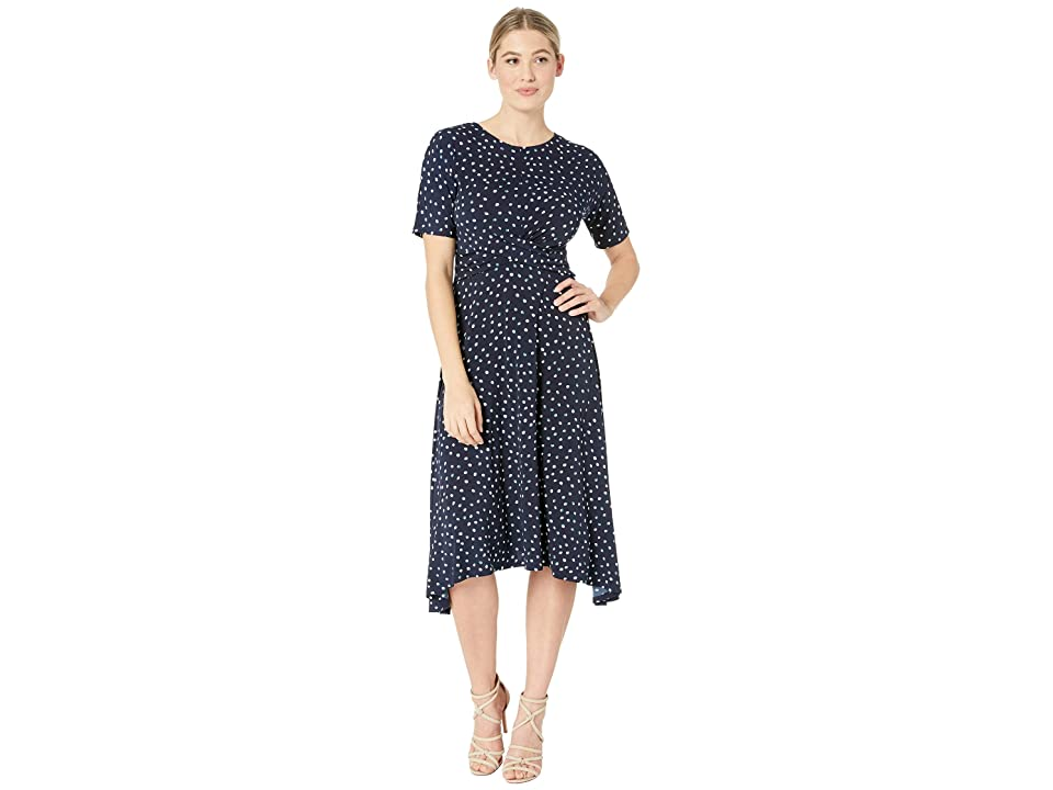 London Times Short Sleeve Hankie Hem w/ Waist Detail Dress (Navy/Blue) Women