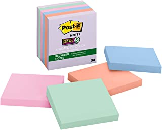 Post-it Super Sticky Recycled Notes, 3x3 in, 6 Pads, 2x the Sticking Power, Bali Collection, Pastel Colors (Lavender, Apri...
