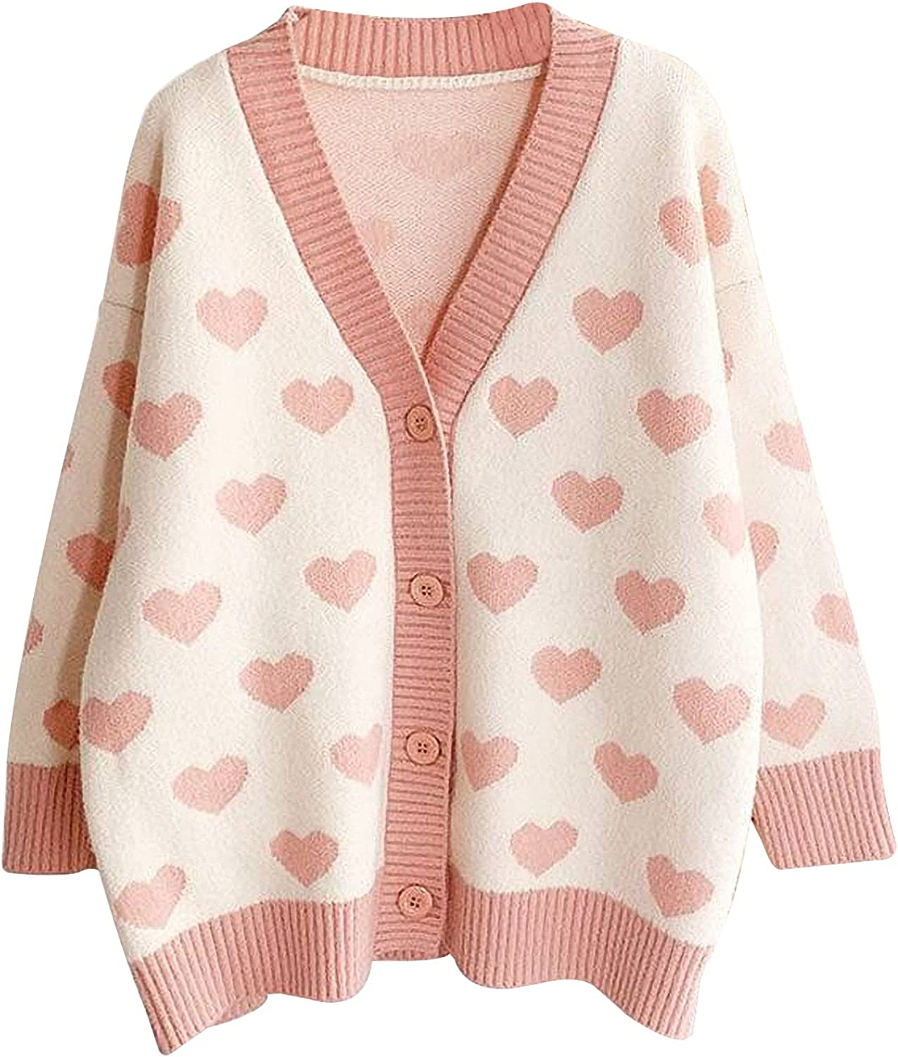 Yimoon Women's Y2K Button Down Heart Pattern Sweater Knitted V-Neck Casual Loose Cardigan