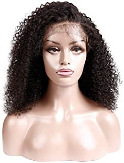 Cherryi Brazilian Afro Kinky Curly 13.5x4 Lace Front Wigs For Black Women 150% Density Remy Human,8inches