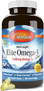 Carlson - Elite Omega-3 Gems, 1600 mg Omega-3s, Heart, Brain & Vision Support, Wild Caught, Orange, 180 soft gels