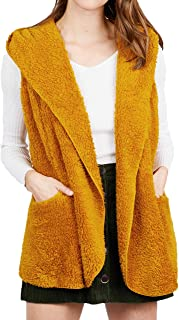Comfytopia Womens Premium Quality Open Front Sherpa Fleece Faux Fur Vest & Long Sleeve with Hoodie (Regular & Plus Size)