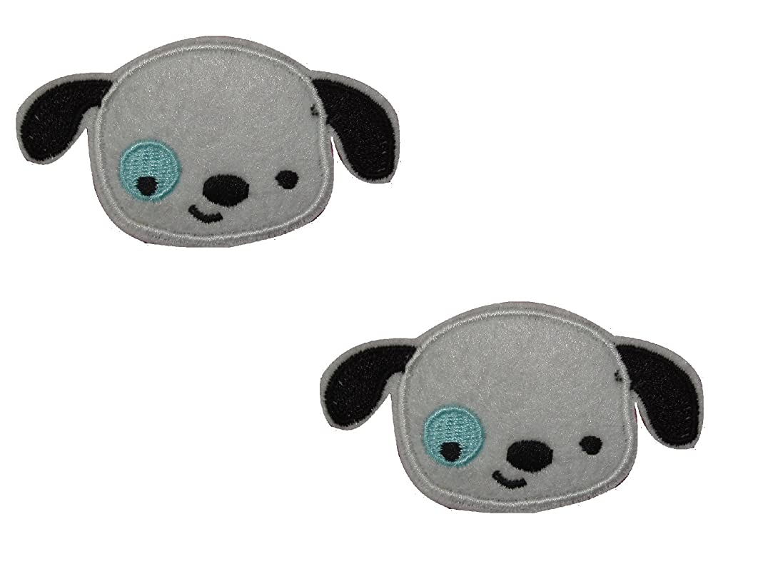PUPPY DOG Iron On Patch (Lot of 2 pieces) Applique Motif Fabric Felt Decal 2.8 x 1.5 inches (7 x 3.5 cm)