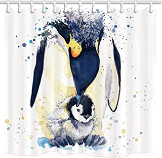 KOTOM Penguin Decor Shower Curtain, Watercolor Penguin Mom and Baby, Polyester Fabric Bath Curtains Set with Hooks 69W X 70L Inches