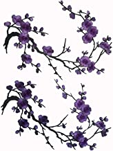 Two Asian Cherry Blossom Sakura Flower Iron on Embroidered Appliques Patch Japanese Chinese (Purple)