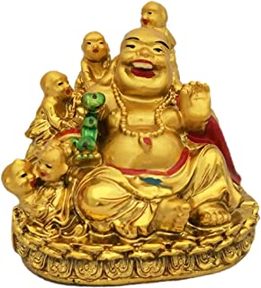 Divya Mantra Happy Man Laughing Buddha Holding Ru Yi and Sitting with 5 Kids/Five Children for Attracting Happiness in Family, Descendant Luck