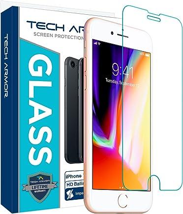 Tech Armor - Protector de Pantalla, Vidrio balístico para iPhone 7, iPhone 6, iPhone 8 (1 Unidad)