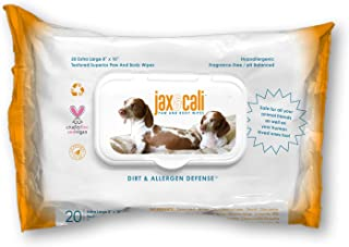 JAX & CALI Pet Wipes – Natural Textured Paw and Body Wipes – Holistic – Hypoallergenic – Cruelty Free – Vegan – Extra Large 8 Inches x 10 Inches – for Dogs and Cats
