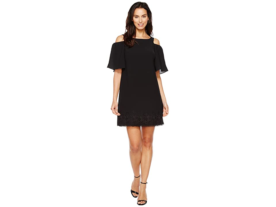 Adrianna Papell Gauzy Crepe Cold Shoulder Shift Dress w/ Elbow Sleeve (Black) Women