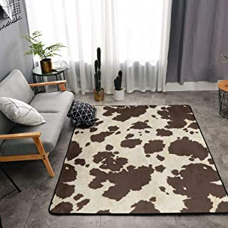 NiYoung Memory Foam Area Rug for Hotel Children Bedroom Dorm Room, Non Skid Backing Floor Pad Rugs Luxurious Throw Rugs Runner, Machine Washable, Cow Print